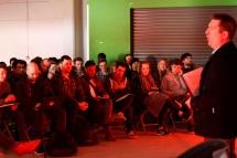 James Hennessy, Paul Hogarth Company addresses the students at Street Society 2015