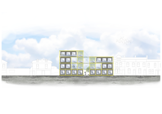 Render of the elevation of Landmark East's project