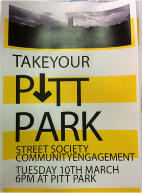 Flyer inviting local residents to a consultation with the student group - Pitt Park Women's Group