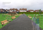 Final stage of the proposed process with seating, planters, play area and gym equipment - Pitt Park Women's Group